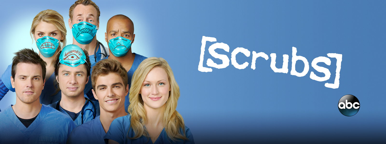 Banner for the hit series on hulu and abc scrubs